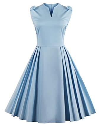 CharMma Womens Vintage Bowknot V Neck Fit and Flare Tea Length Cocktail Dress (Small,