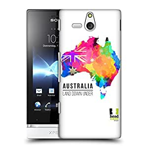 Head Case Designs Land Down Under Australia Watercoloured Maps Protective Snap-on Hard Back Case Cover for Sony Xperia U ST25i
