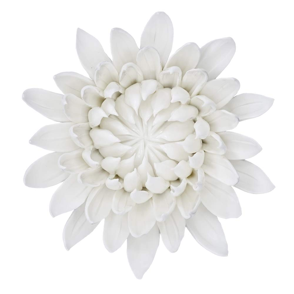 ALYCASO Artificial Flowers Wall Decoration for Living Room Bedroom Hanging 3D Wall Art Ceramic Flower Pediments Sculpture White, F8, 5.9 in