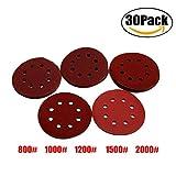 FBAPluto 30pcs 5 Inch Discs Pads 8 Holes Abrasive Sanding Discs Sanding Paper 800/1000/1200/1500/2000 Grit Sandpapers