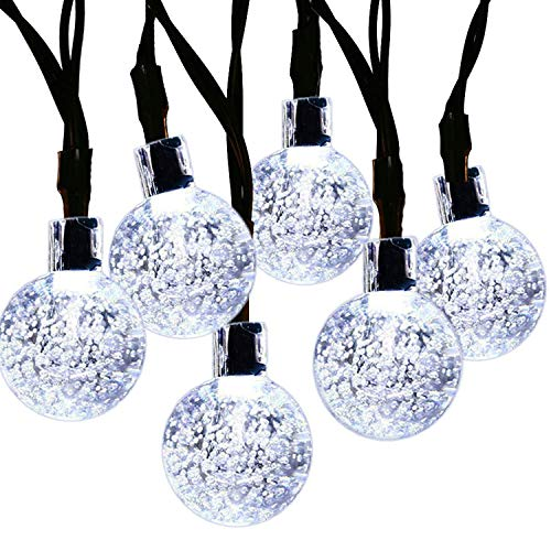 JAR-OWL Solar String Light 20ft 30LED Fairy String Lights Bubble Crystal Ball Lights Decorative Lighting for Christmas Garland Garden Home Patio Lawn Party Holiday Outdoor Decor (White)