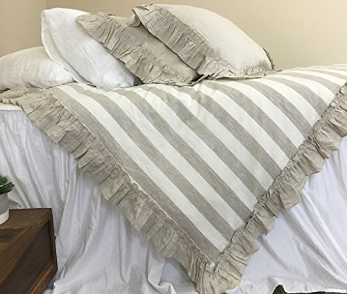 Linen Striped Duvet Cover Features Vintage Ruffles, Create your Style! FREE SHIPPING ()
