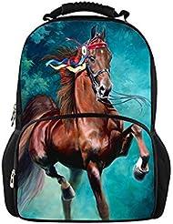 HUGS IDEA Stylish 3D Zoo Animals Horse School Backpack Mens Travel Bag