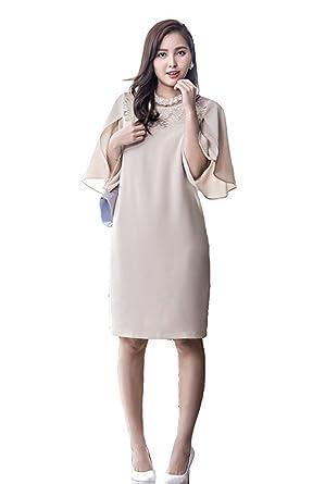 bd3b08186b8c1 2017人気 結婚式 レースドレス ワンピース 大きい サイズ 丸襟 無地 膝丈 パーティードレス レディース