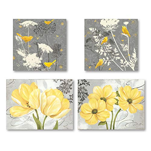 Gango Home Decor Beautiful Grey & Yellow Poster Set; Birds and Flowers; Two 12x12in and Two 14x11in Unframed Poster Prints ()