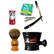 Classic Samurai Men Premium Shaving Set with CS-101B Stainless Steel Professional Barber Straight Edge Razor with 100 Count Derby Single Edge Razor Blades, 100% Pure Badger Shaving Brush, Arko Stick Soap and Porcelain Shaving Mug