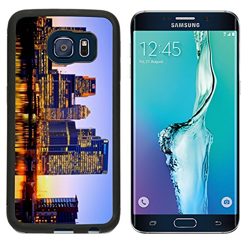 Sumsung S6 Edge Metal Phone Case,MSD Bumper Custom Alum Case Design for city skyline skyscraper night architecture downtown cityscape modern water usa river urban business tower - Water Tower Downtown