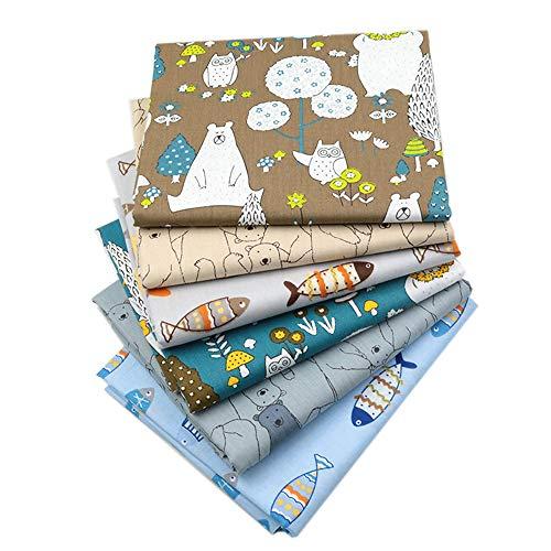 - Zoo Animals Fat Quarters Fabric Bundles, Bear Fish Print Precut Sewing Quilting Animal Fabric,18