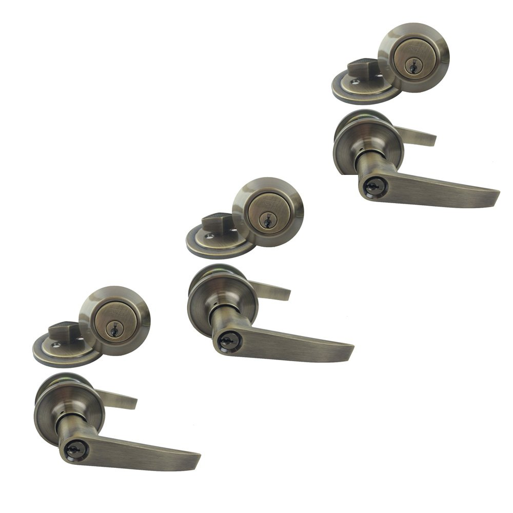 NU-SET 3 x (T-E-5-3 + 70053) Tustin 3 Sets of Nuset Keyed Alike Entry Lever Lock/Dead Bolt Combo, Antique Brass