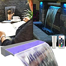 """APONUO Lighted Waterfall Pool Fountain 24"""" RGB LED Pool Fountain 7 Color Remote Changing Spillway for Sheer Descent(2 Connector Choose)"""