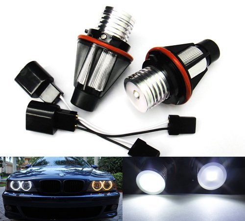 2x White LED Angel Eye Halo Ring Headlight Daytime Light Bulb For E39 E60 E61 E87 E53 E63 E65 RZG