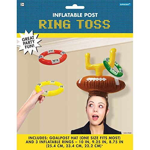 Football Frenzy Birthday Party Inflatable Post Ring Toss Game, Plastic, Pack of 4