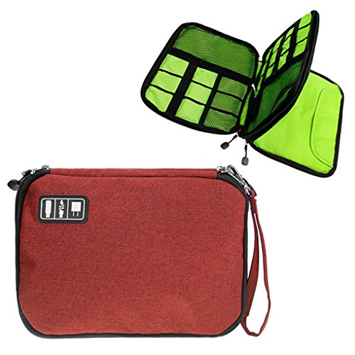 Price comparison product image Universal Double Layer Electronics Accessories Carry Case Travel Organizer Bag Digital Receive for Various USB, Phone, Cable, Battery Charger Case, Sleeve Pouch for iPad, with Carrying Strap
