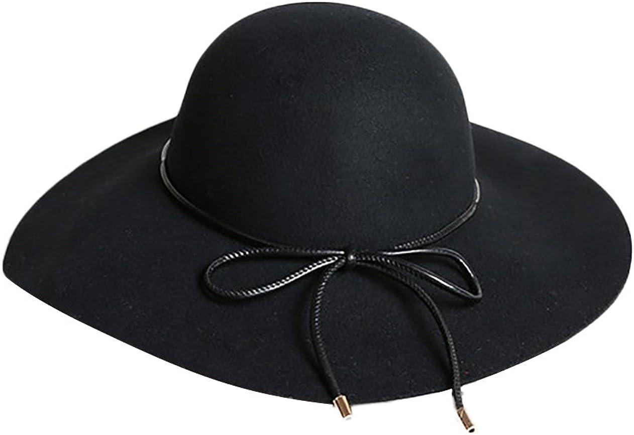 LIVEINU Womens 100/% Wool Felt Hat Wide Brim Floppy Fedora Hat Jazz Hats with Belt
