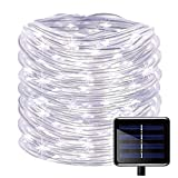 100 LEDs Solar Rope String Lights,WONFAST Waterproof 39ft/12M Copper Wire Outdoor Tube Fairy String Lights for Christmas Garden Yard Path Fence Tree Backyard (White)