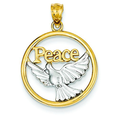 - 14K Two Tone Gold Polished Peace Dove Pendant Charm Jewelry 21 x 18 mm