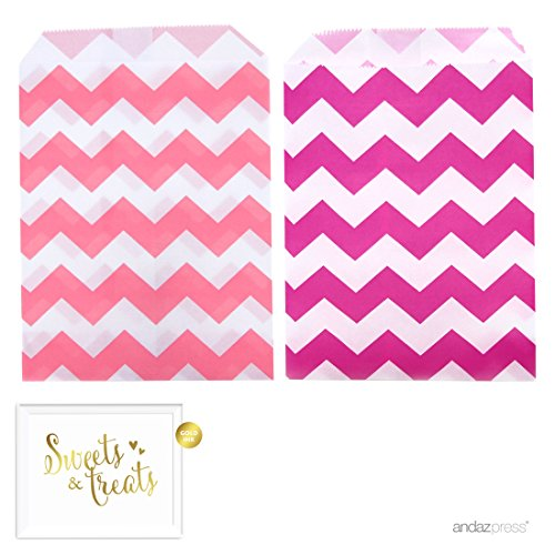Andaz Press Party Favor Bags with Gold Sweets & Treats Party Sign, 5x7-inch, Fuchsia Chevron and Pink Chevron, 48-Pack, Girl Baptism Christening Communion Treats]()