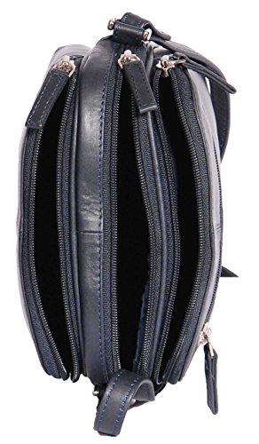 Damen Echtes Leder Kreuz Körper Tasche Damen Organizer Umhängetasche 'BARI' Marineblau 19x17x9cm