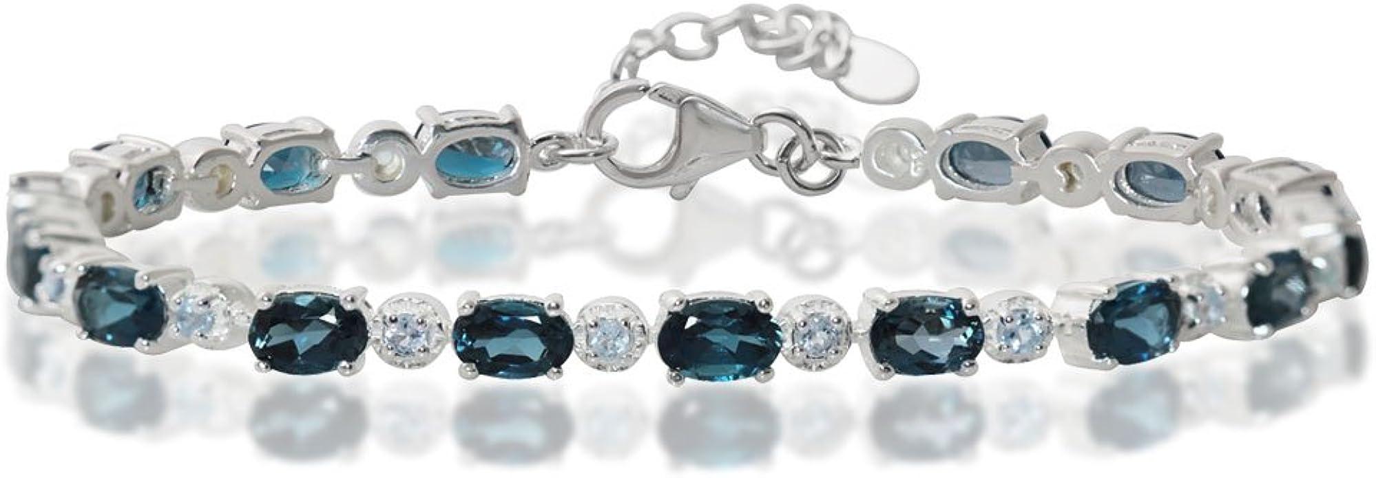 Oval-cut 7x5mm Blue Topaz Adjustable Tennis Bracelet in Sterling Silver