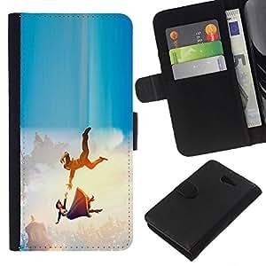 """A-type (La caída de la princesa de dibujos animados"""") Colorida Impresión Funda Cuero Monedero Caja Bolsa Cubierta Caja Piel Card Slots Para Sony Xperia M2"""