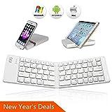 Bluetooth Folding Keyboard - IKOS Ultra Slim Pocket Size Foldable Keyboard For iOS Android Windows - iPad Mini - iPad Pro - iPhone - Smartphones - Windows - Smart TV - Tablets - With Rechargable Battery