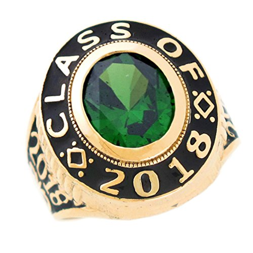 14k Gold Simulated May Birthstone 2018 Class Graduation Mens Class - Class Emerald Ring