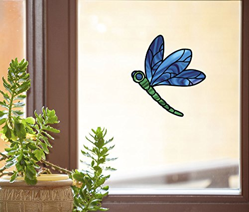 Dragonfly Stained Glass - D2 - See-Through Vinyl Window Decal Copyright YYDCo. (4.75
