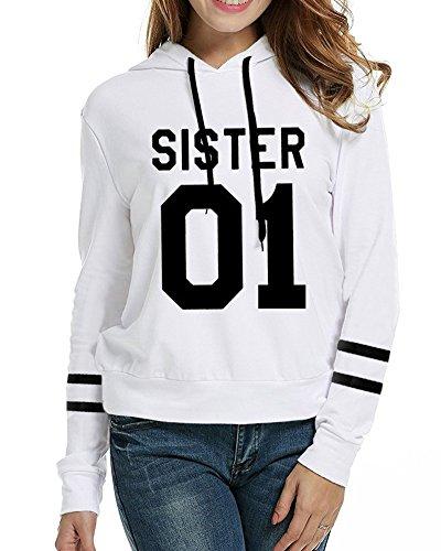 Felpe Donna Lunga Hoodies Sweatshirt Cappuccio Bianco Pullover Manica con SISTER Friends Maglione Best Stampa 01 rq7vr4O