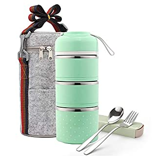Stackable Bento Lunch Box, ArderLive Stainless Steel Themral Leakproof Insulated Lunch Container with Insulated Lunch Bag&Portable utensil,Food Container for Man,kids(3Layer, Green)