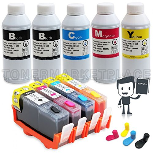 Inkjet Auto Refill (INKUTEN HP 564 HP564XL Refillable Ink Cartridges with Auto Reset Chips (With 5 INK Refill Bottle SET) 2,500ml Refill)