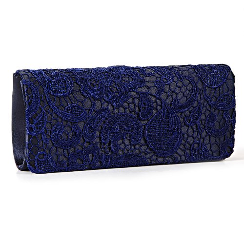 Black White Navy Blue Floral Lace Evening Party Clutch Bag Bridal Wedding Purse (Navy Blue)