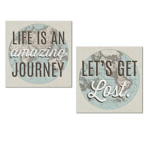 Gango Home Decor Classic Map Life is an Amazing Journey and Let's Get Lost by Wild Apple Portfolio; Two 12x12in Unframed Paper Posters
