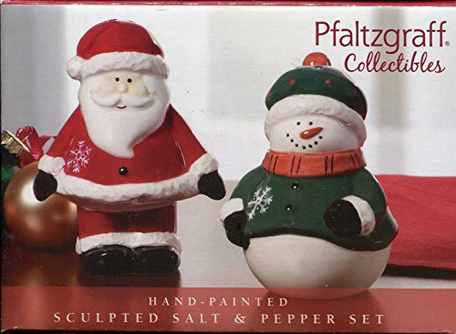 Pfaltzgraff Collectibles Hand-Painted Ceramic Snowman and Santa Salt and Pepper Set