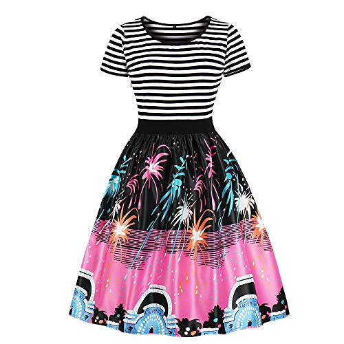 iHPH7 Women Vintage Printing Sleeve Casual Evening Party Prom Swing Dress