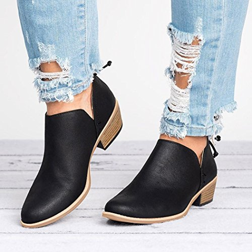 Bringbring Women Ladies Autumn Shoes Fashion Ankle Solid Leather Martin Shoes Short Boots Black L14DlX2j