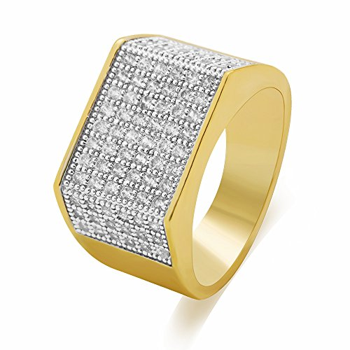LuReen Gold/Silver Twotone Square CZ Bling Bling Iced Out Hip Hop Rings (9) by LuReen