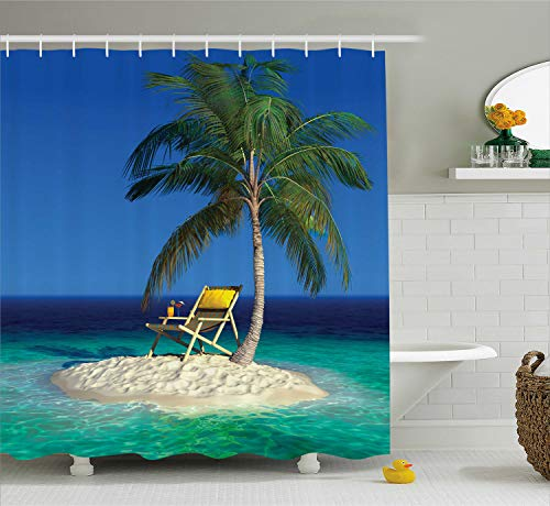 - Ambesonne Seaside Shower Curtain, Chair Under a Palm Tree on a Small Uninhabited Tropical Island Clear Ocean, Cloth Fabric Bathroom Decor Set with Hooks, 75