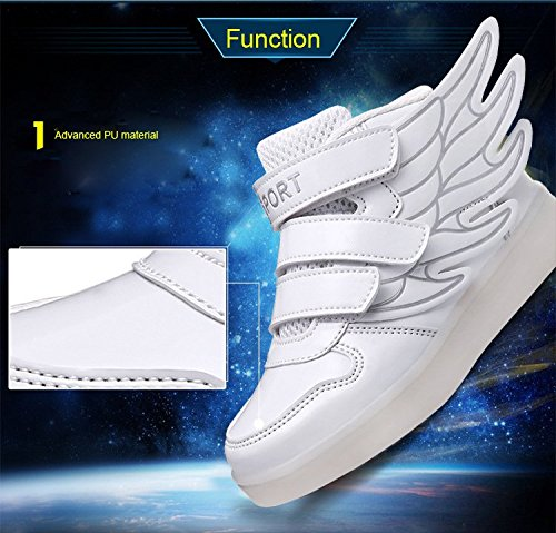 1a44e47b3fa1 Kid boy girl LED light up sneaker athletic wings shoe High Student dance  Boot USB Charge - Buy Online in UAE.