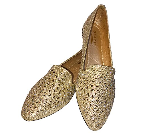 Glaçure Casual Bling Glitter Sparkle Strass Flats Mocassins Slip Sur Les Chaussures [taille 5.5, 6, 6.5, 7, 7.5, 8, 8.5, 9, 9.5, 10] Or