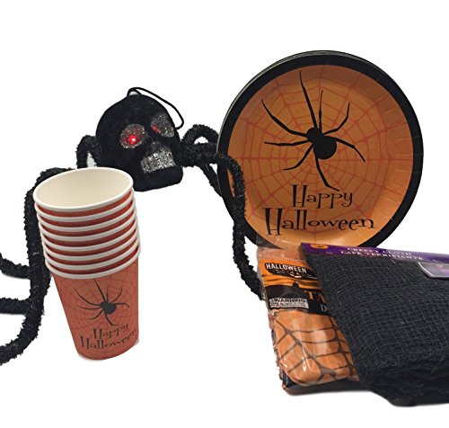 Nasty Spider With A Skull Face and Flashing Eyes | Spider Halloween Plates | Spider Cups | Spooky Table Cloth and Black Creepy Cloth | Black Napkins (Spooky Halloween Loops)