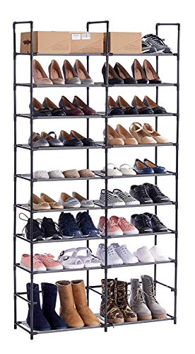 ORAF Shoe Rack 10 Tier Shoe Tower Organizer, 50 Pair Shoe Racks with Waterproof Dustproof Tight Connection, Free Standing Shoe Shelf in Closet Entryway Hallway, Non-Woven Fabric, Black (Closets Shoe Racks Wall Mounted For)