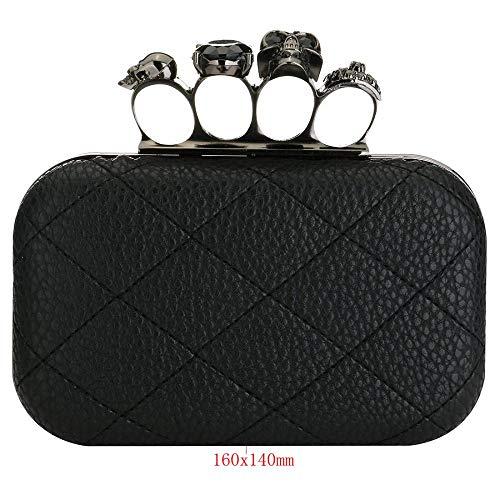 Skull Retro with Purse Women Quilted PU Bag Designer EROUGE Evening Crystal Clutch Handbag Leather zncqpcxRv