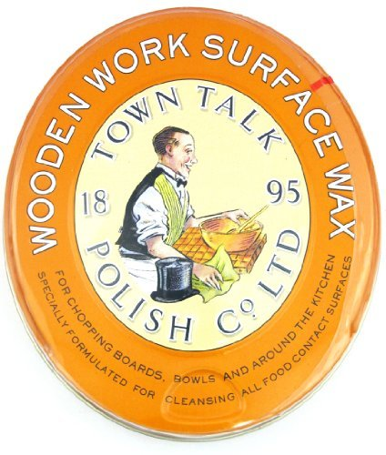 Wooden Work Surface Wax / Orange Wax, 5 oz. by Town Talk- Clean and Protect Wooden Chopping Boards, Bowls, Utensils, (Orange Wax)