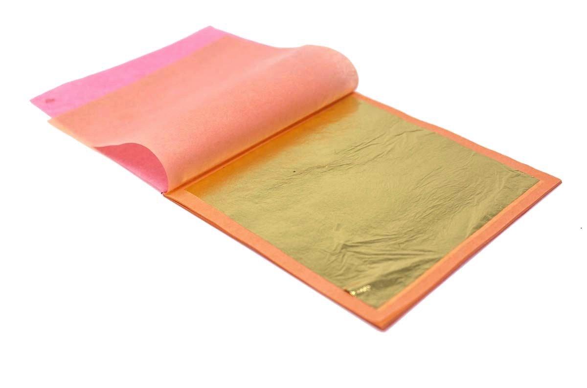 24 Karat Edible Gold Leaf by Slofoodgroup (25 Sheets Gold Leaf per book) Gold Leaf sheet size 3.15in x 3.15in Loose Leaf Sheets