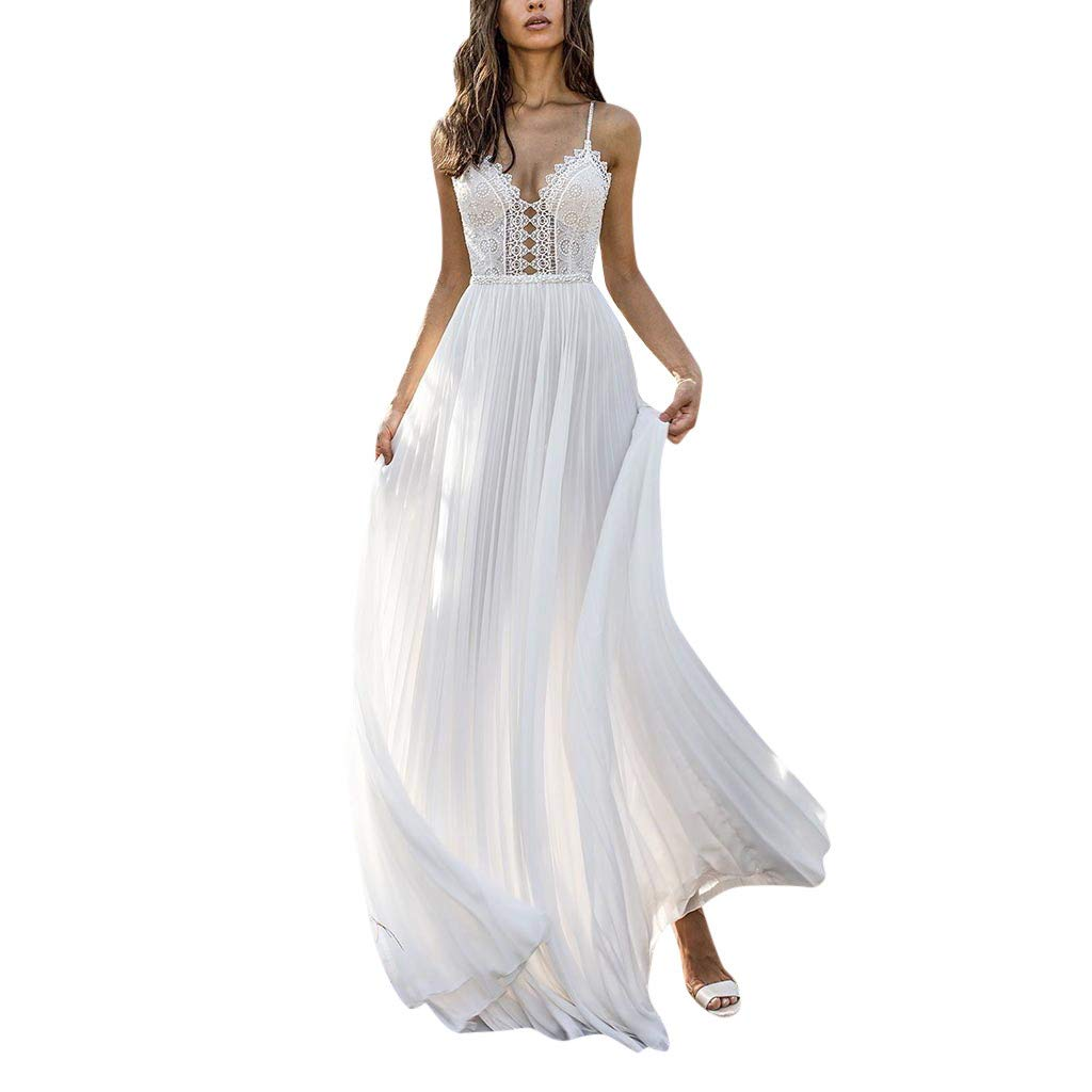 Aunimeifly Woman's Cute Sexy Backless Lace Hollow Out Spaghetti Strap Party Wedding Long Floor-Length Dress (M, White) by Aunimeifly