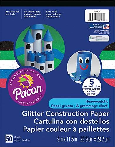 Pacon(R) Glitter Construction Paper Pad, 9in. x 11 1/2in., Assorted Colors, Pad Of 50 Sheets