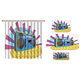 Bathroom 4 Piece Set Shower Curtain Floor mat Bath Towel 3D Print,Boom Box in Pop Art Manner Dance Music Colorful,Fashion Personality Customization adds Color to Your Bathroom.