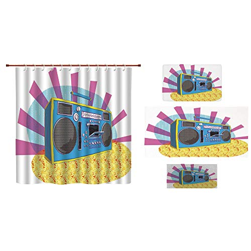 Bathroom 4 Piece Set Shower Curtain Floor mat Bath Towel 3D Print,Boom Box in Pop Art Manner Dance Music Colorful,Fashion Personality Customization adds Color to Your Bathroom. by iPrint