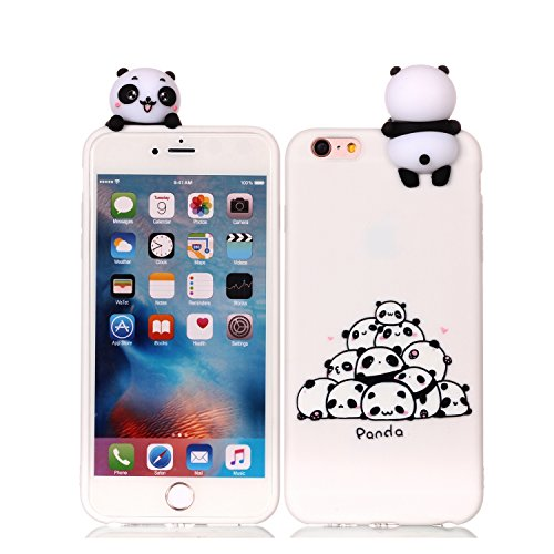 DAMONDY iPhone 6s Plus Case, iPhone 6 Plus Case, 3D Cartoon Animals Cute Pattern Soft Gel Silicone Slim Design Rubber Thin Protective Cover Phone Case for iPhone 6 6s Plus [5.5]-Many Panda