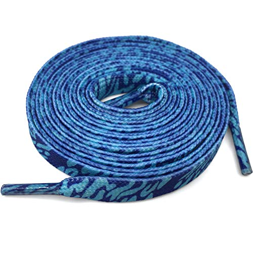 DANHUA Flat Shoelaces 59 inch English Style Blue Zebra Shoe Lace Shoestring 2 Pair